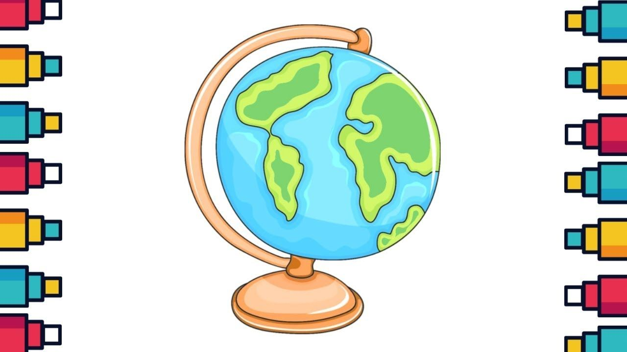 How To Draw A World Globe Easy Drawings World Globe Kids Kids Globe Globe Drawing Cartoon Globe
