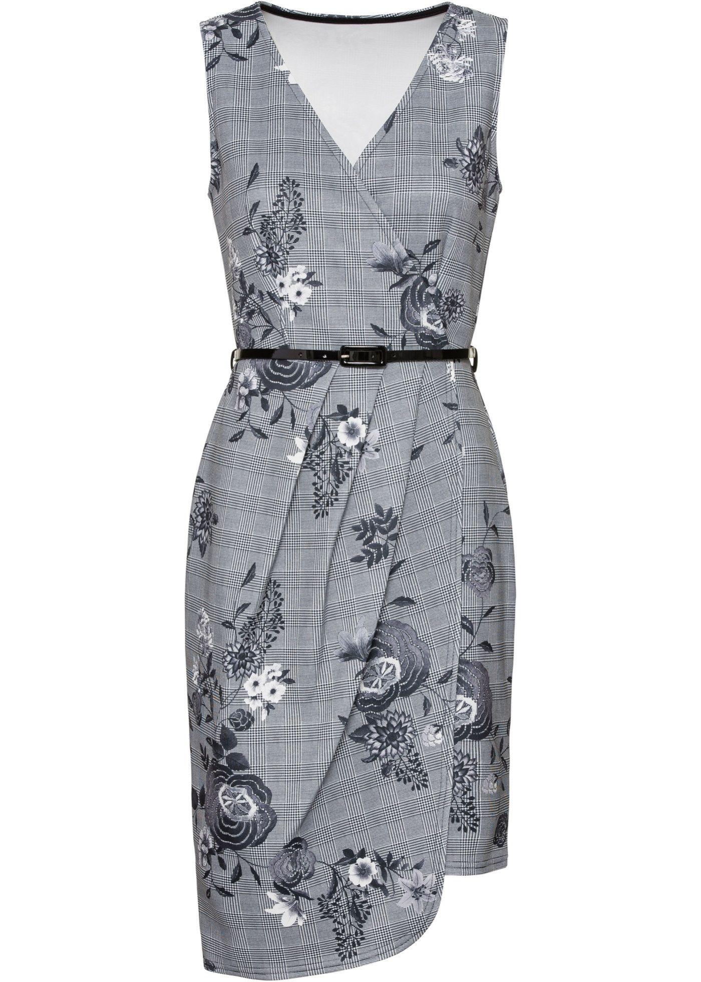 Květované šaty černo-bílá kostka s květy - BODYFLIRT boutique koupit online  - bonprix.cz 1fe608a77a