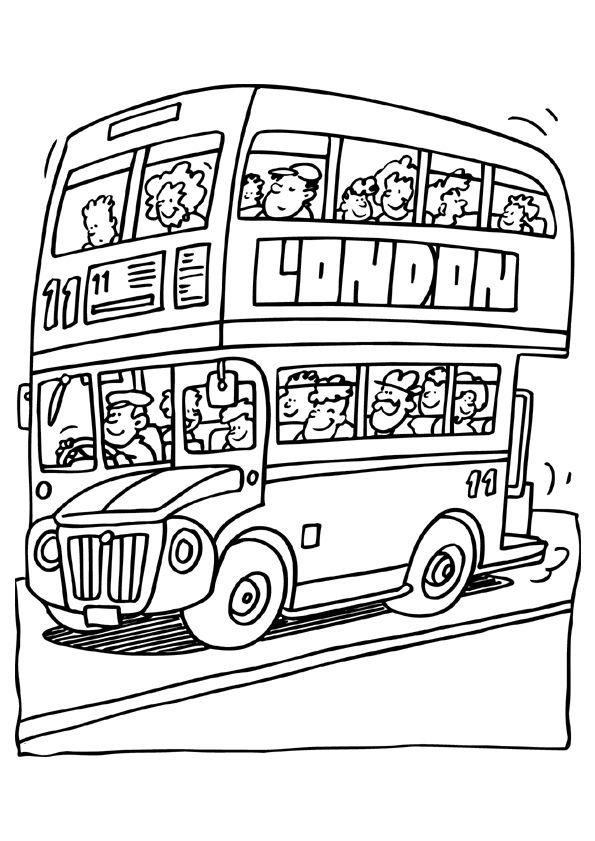 Kleurplaten Autobus.Kleurplaat Engelse Bus Kleurplaten Vervoer Kleurplatenl Com