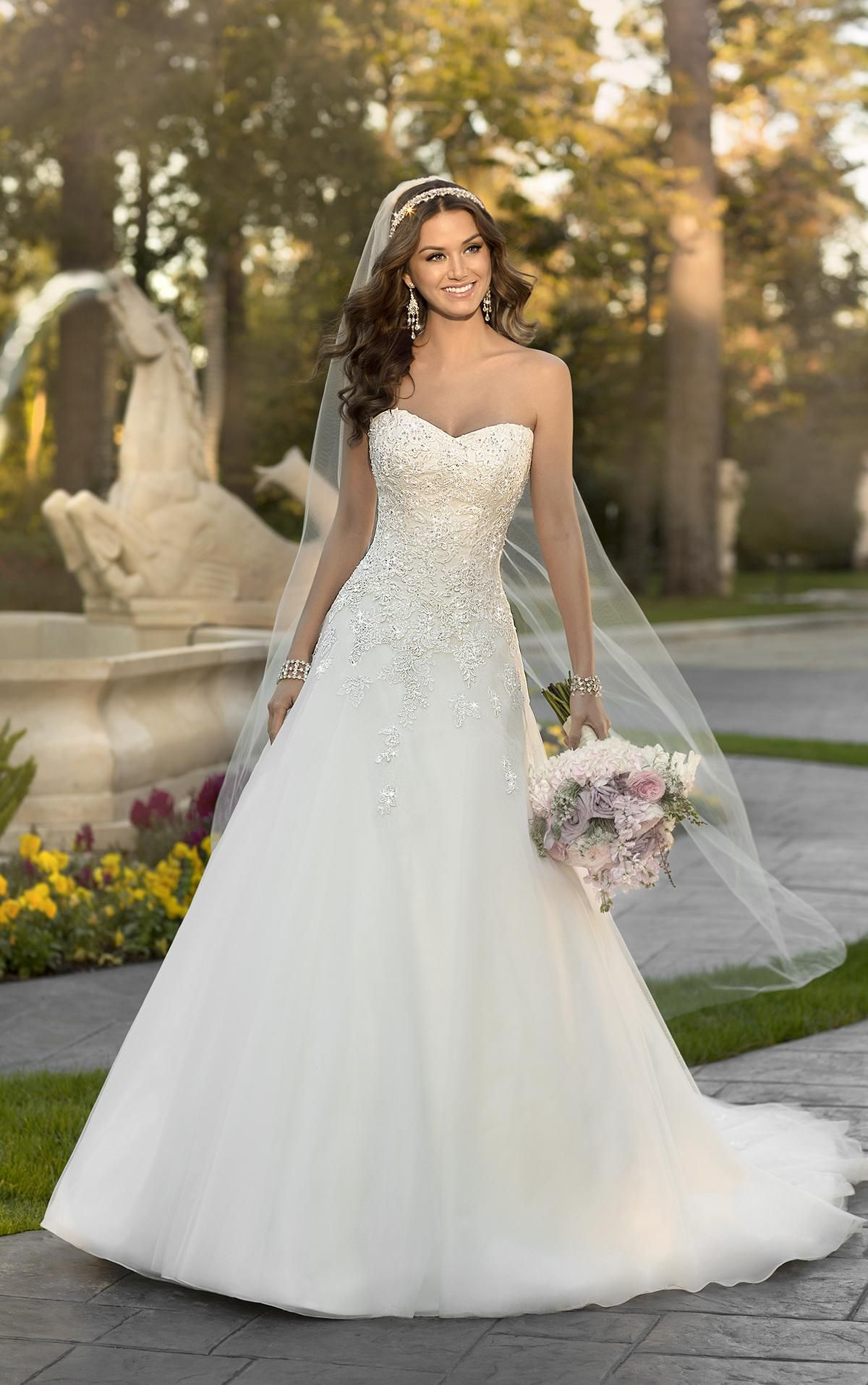 0ef7944f9b36 Wedding Dress Cheap 2016 A Line Wedding Dresses With Free Veil Stella York  Strapless Appliques Sequins Organza Bridal Gowns With Lace Up Back And Long  Train ...