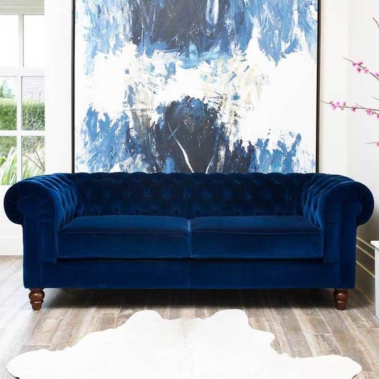 Chesterfield 4 Seater Velvet Sofa Blue Costco Furniture Home Living Room Furniture Blue Sofas Living Room Wooden Living Room Furniture Velvet Sofa Uk