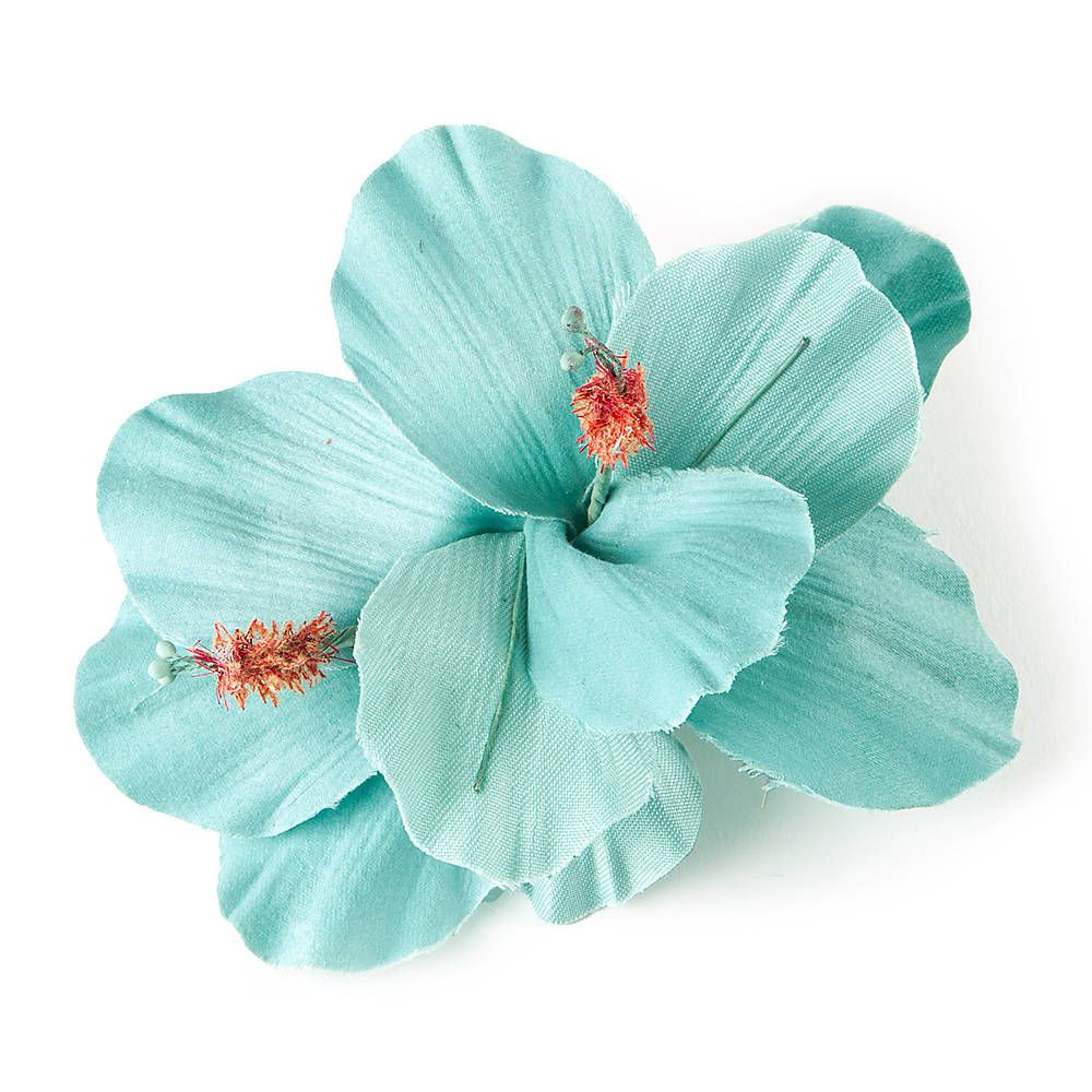 Turquoise Double Hibiscus Flower Hair Clip Claires Accessories
