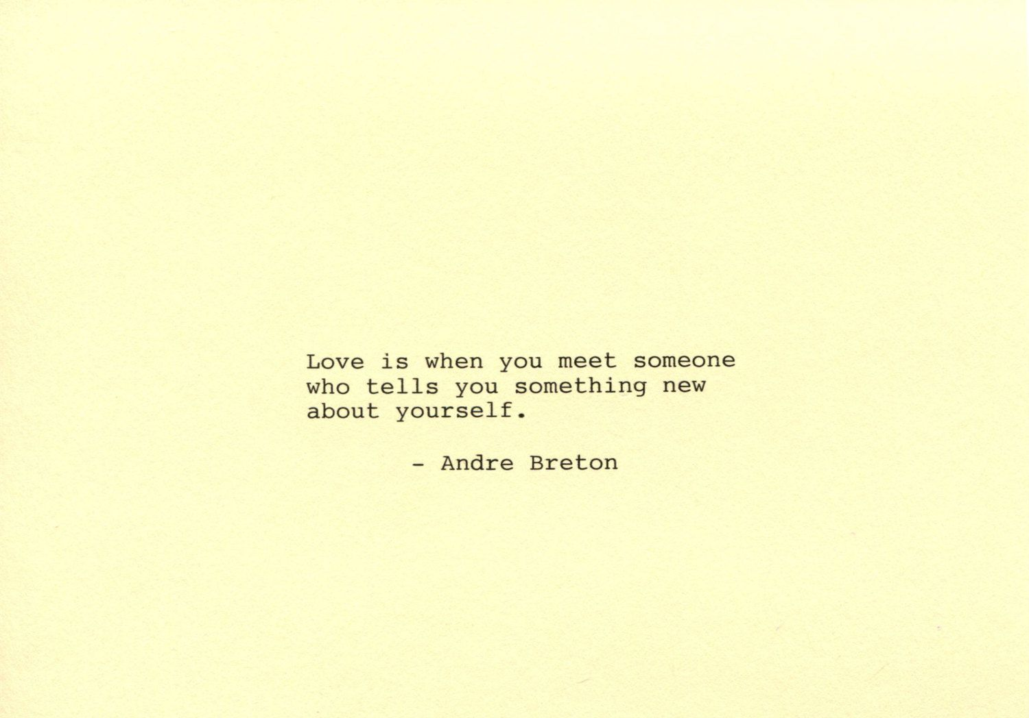 Andre Breton Made on Typewriter Art Quote Wall Art - Love is when ...