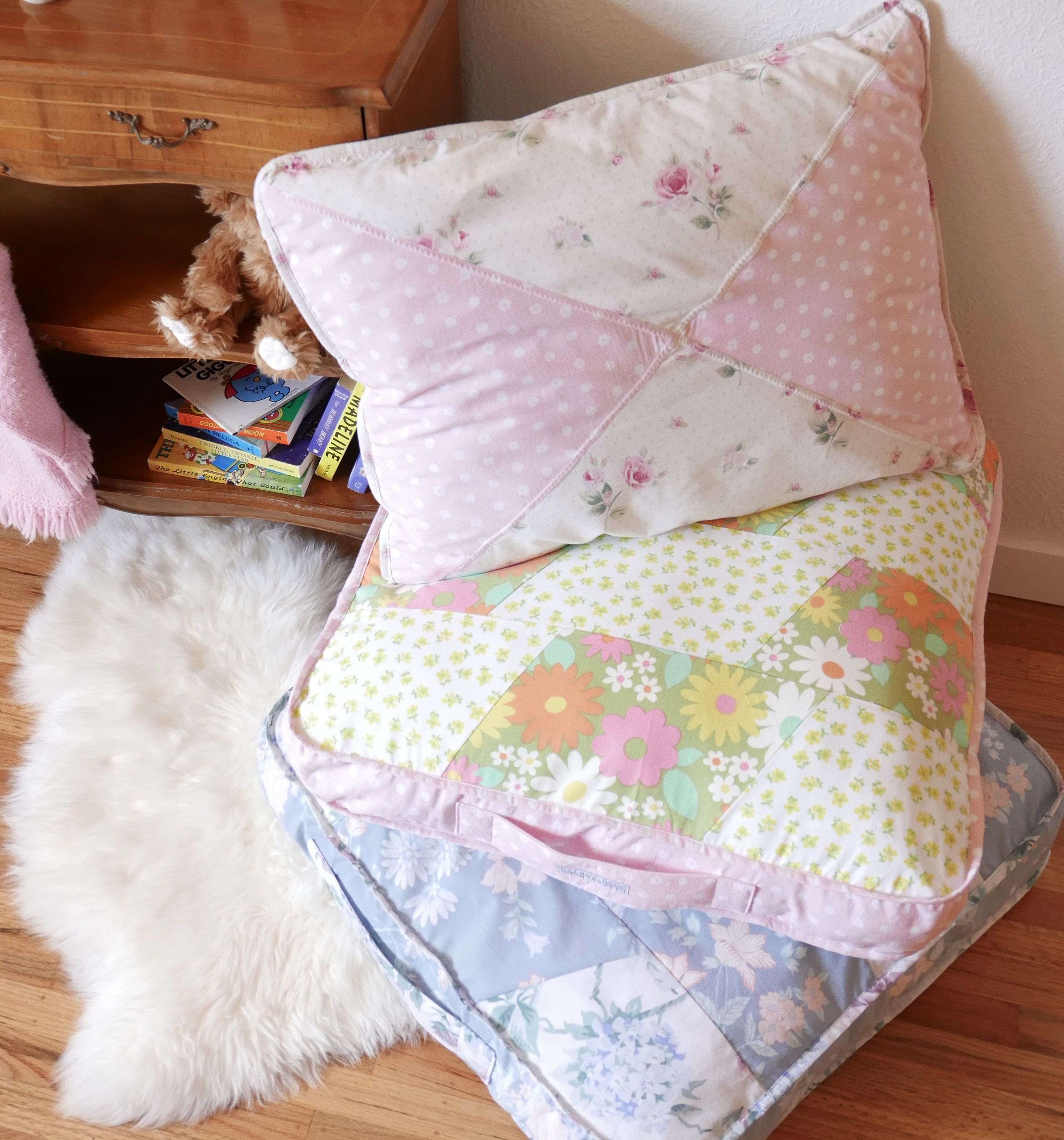 Floor pillows made from upcycled vintage linens. Pillow inserts ...