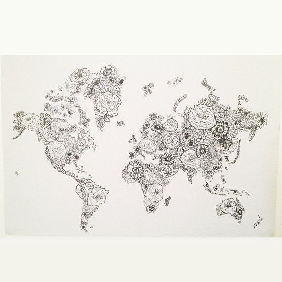 16 x 11 flower world map print from original drawing by lascandal items similar to flower world map print from original drawing art illustration wall home decor travel on etsy gumiabroncs Images