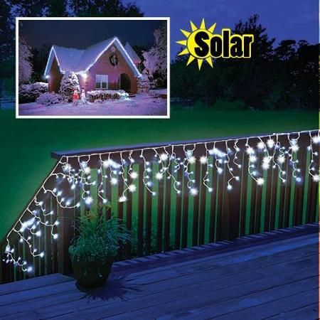 solar powered led outdoor christmas decoration icicle lights walmartcom