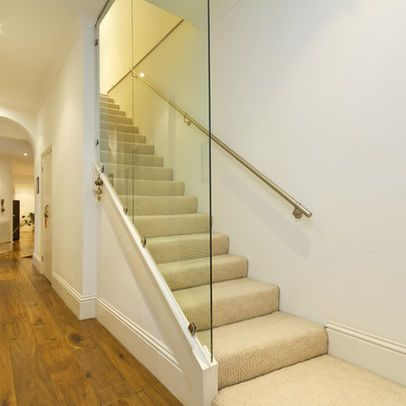 basement stairs Glass Wall Design Ideas, Pictures, Remodel, and ...