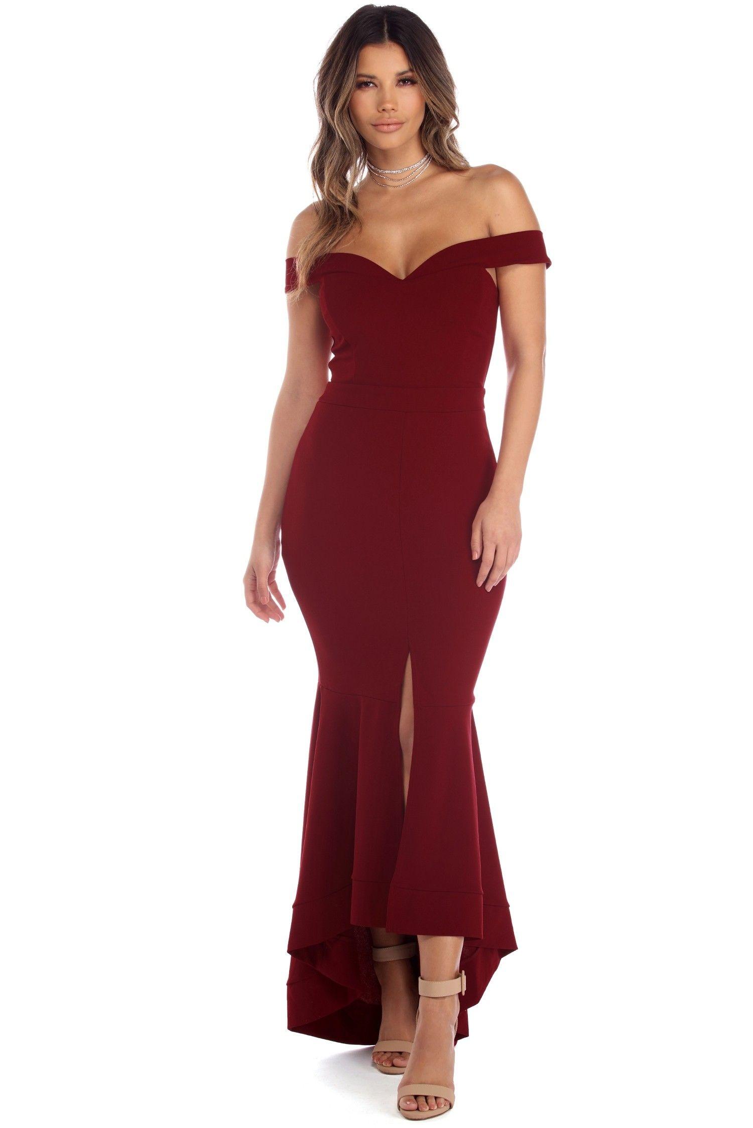 Jacqueline Burgundy Off The Shoulder Crepe Dress Dresses