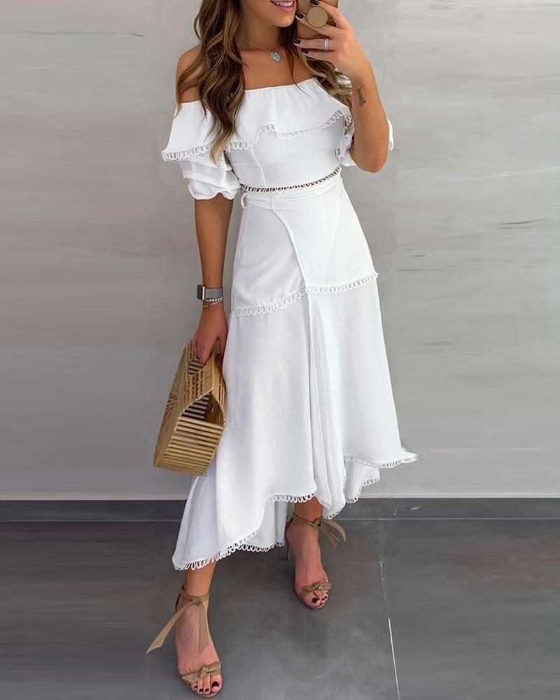 Off Shoulder Ruffle Tops Split Skirt Sets In 2020 Fashion White