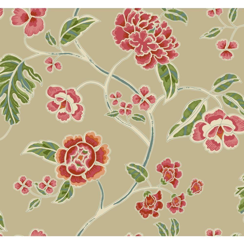 Global Chic Zen Garden Trail Wallpaper, Light Tan Satin/Red/Pink/Orange/Pink/Pink/Beige/Blue/Yellow/Green
