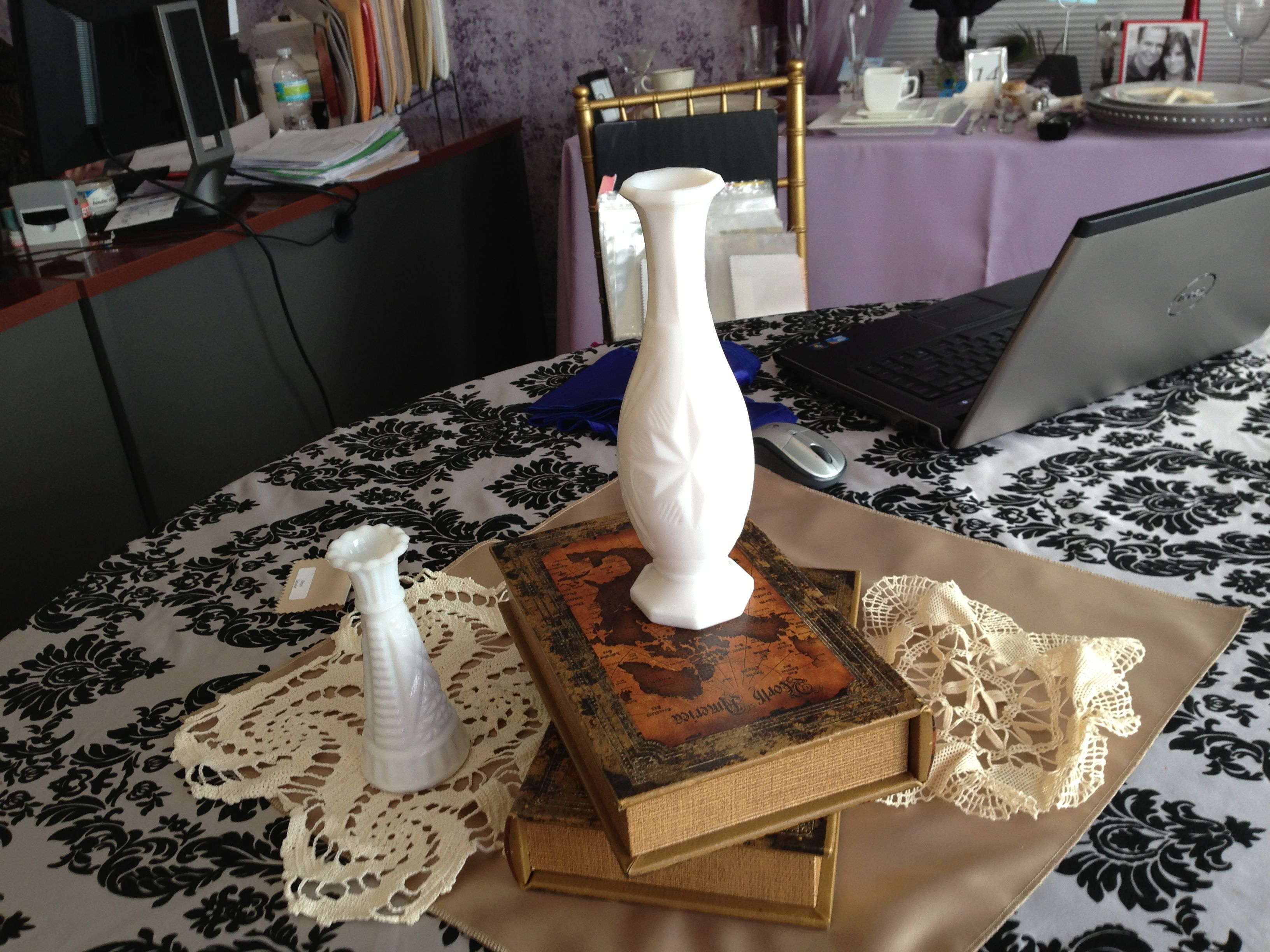 mock up of center piece items on table clothe color ...