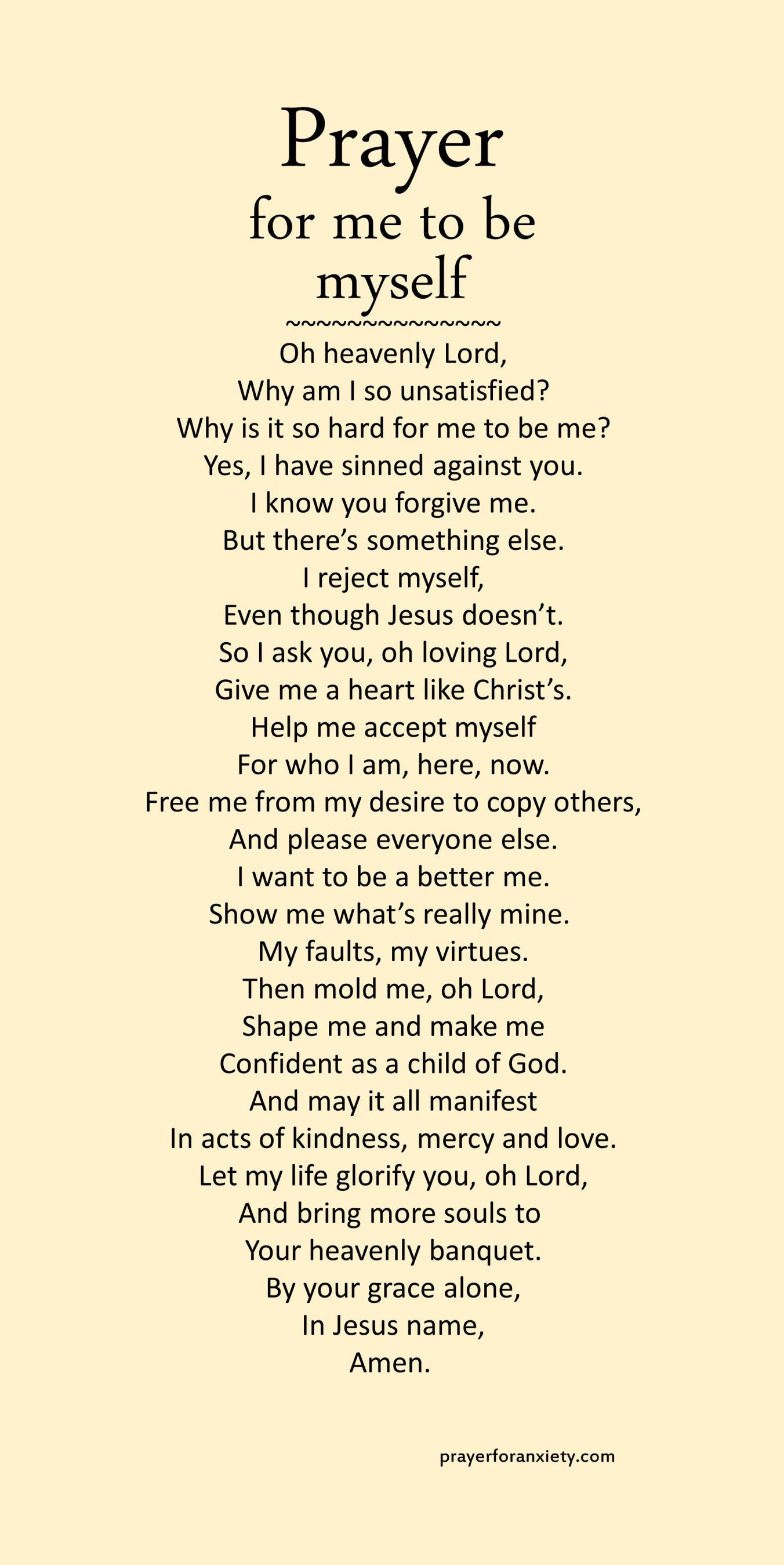 Prayer for me to be myself