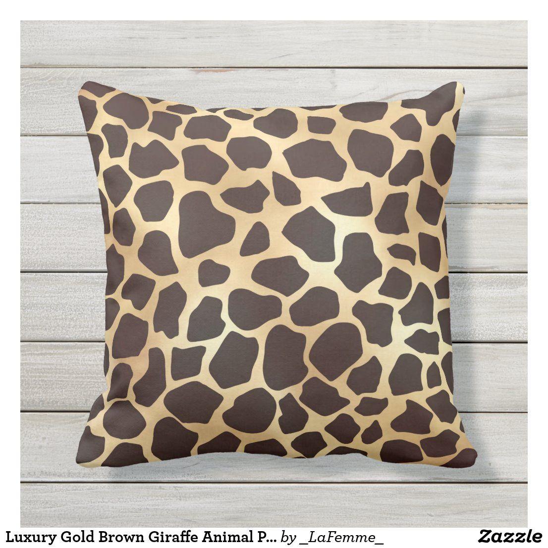 Luxury Gold Brown Giraffe Animal Print Pattern Outdoor Pillow In 2020 Animal Prints Pattern Outdoor Pillows Print Patterns