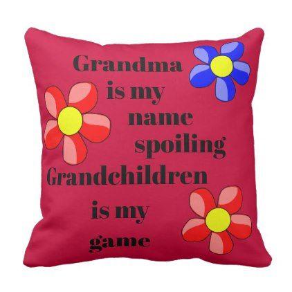Red Flower Grandparent Grandchildren Quote Pillow   Zazzle.com #grandchildrenquotes