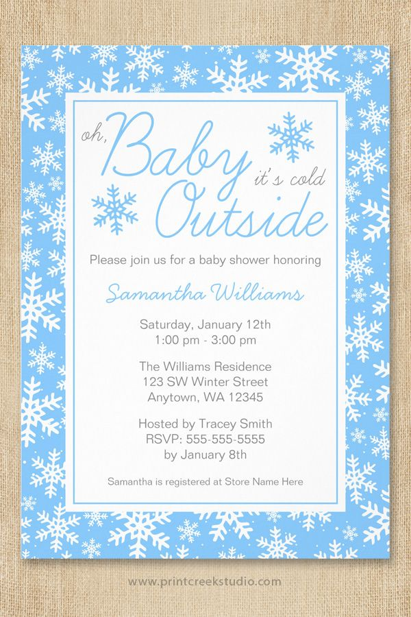 Oh Baby It S Cold Outside Blue Baby Shower Invitation