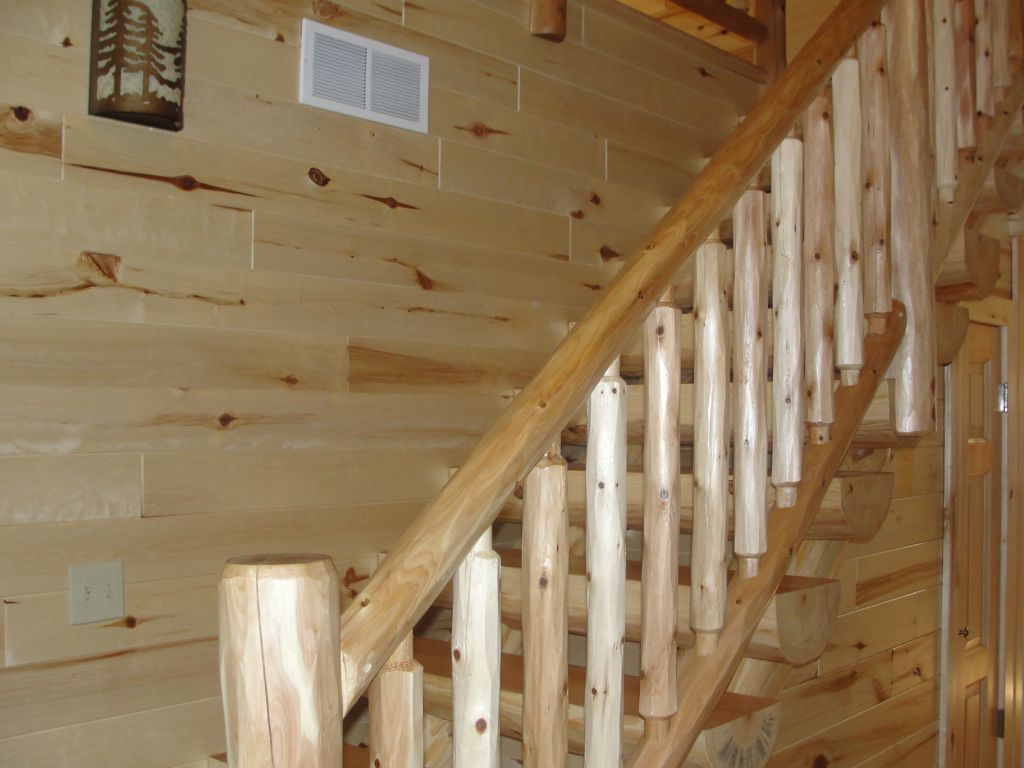Best Cedar Railing And Pine Log Stairway Wood Railing Knotty 400 x 300