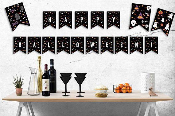 ◇Printable Halloween kawaii pennant banner, Halloween garland - halloween cute decorations