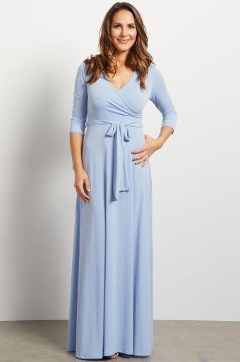 Serenity Blue Draped 3/4 Sleeve Maxi Dress