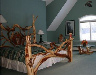 Rustic Bedroom Furniture Twisted Juniper Bed With Carved Panel