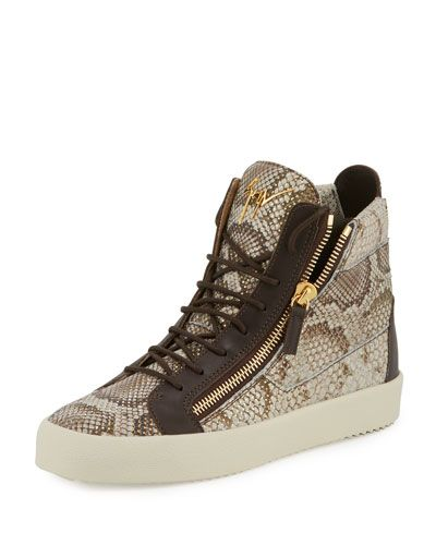 7f583cdd936b9 GIUSEPPE ZANOTTI Men'S Python-Embossed High-Top Sneaker, Light Brown. # giuseppezanotti #shoes #