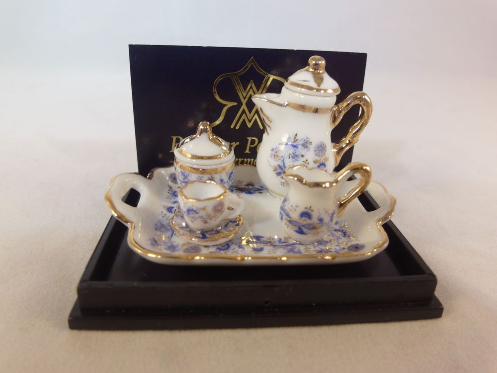 Miniature Dollhouse Porcelain Scake 1:12 6 Cup Saucer 3 color in Wooden Tray