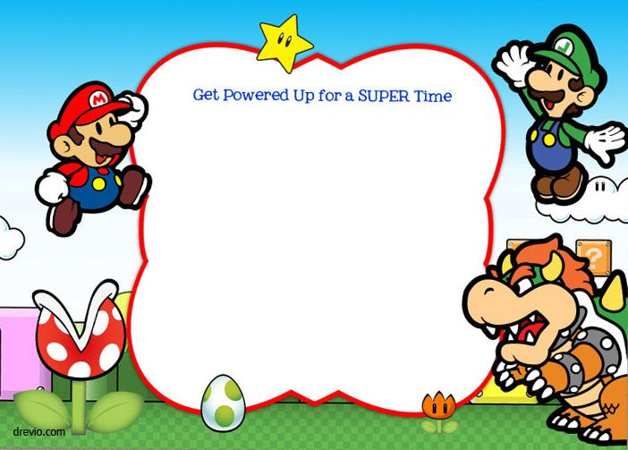 Download Free Printable Super Mario Bros Invitation Template - birthday invite templates free to download