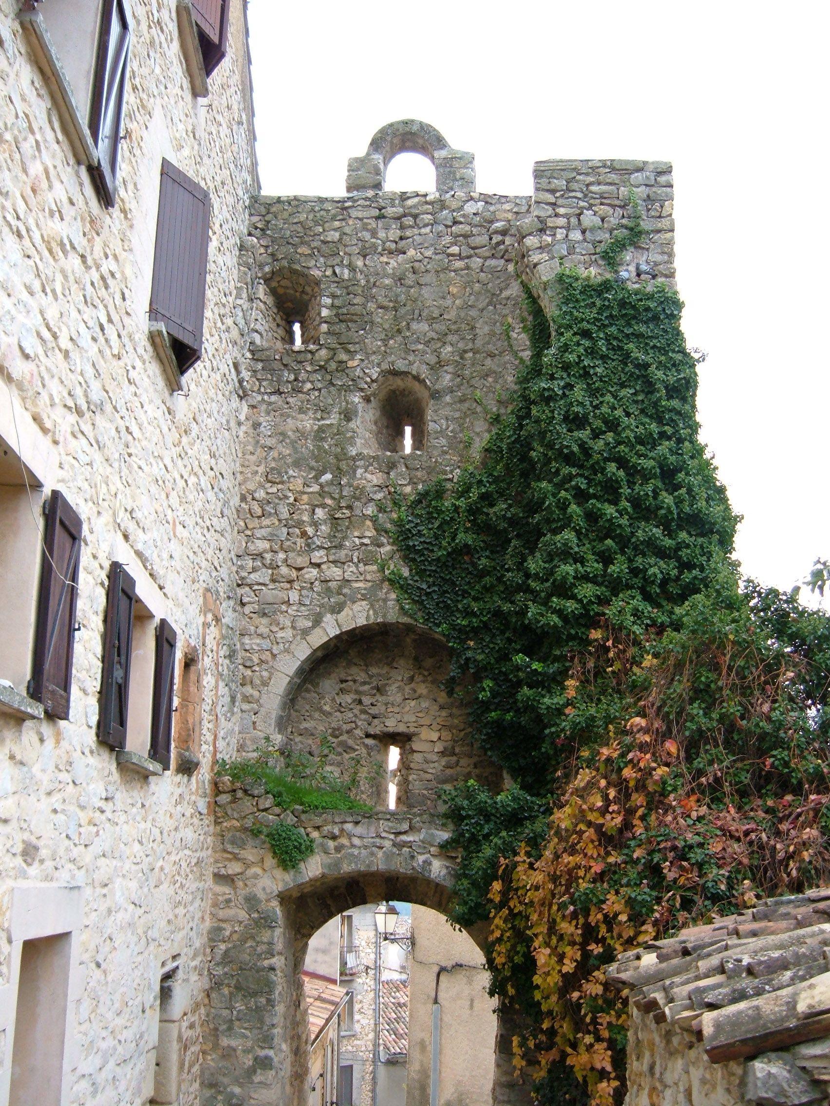 ancienne tour d 39 enceinte en pierre porte d 39 un village dans le verdon et v g tation meutri res. Black Bedroom Furniture Sets. Home Design Ideas
