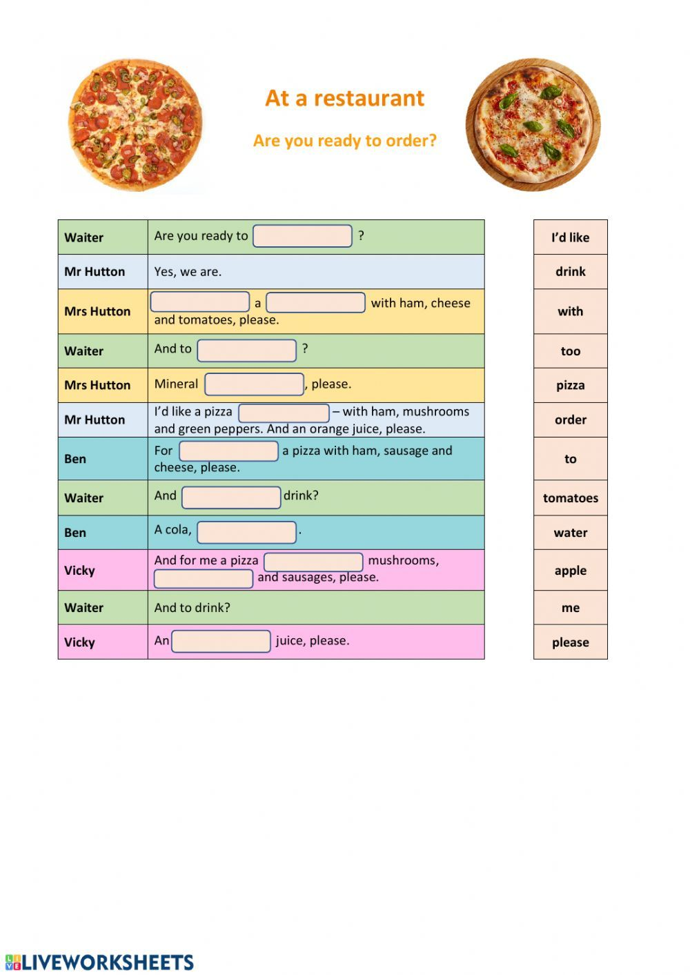 At The Restaurant Interactive And Downloadable Worksheet You Can Do The Exercises English As A Second Language Esl English As A Second Language Order Pizza [ 1413 x 1000 Pixel ]