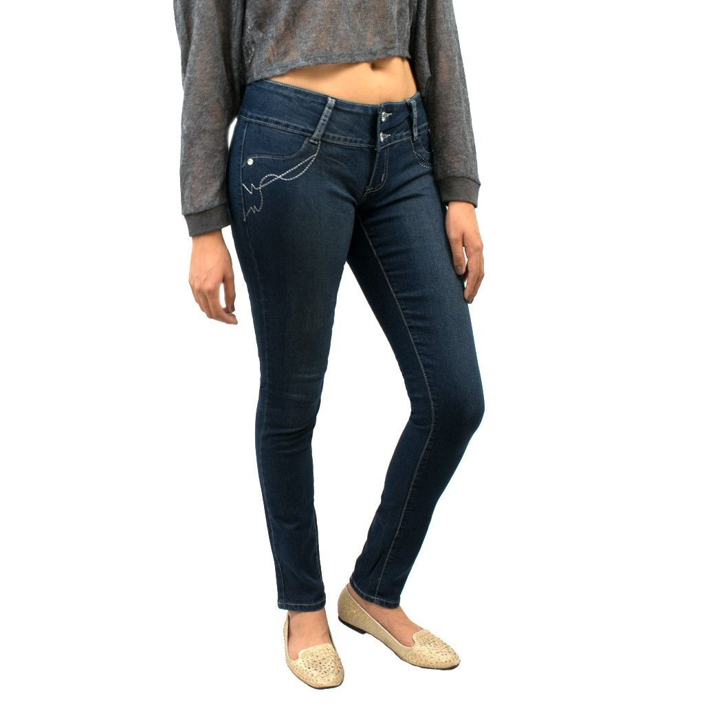 Classic Blue Dark Wash Low-Rise 2-Button Front Jeans
