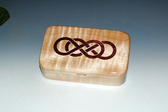 Wood Treasure Box Curly Maple With Inlaid Purple Heart Double