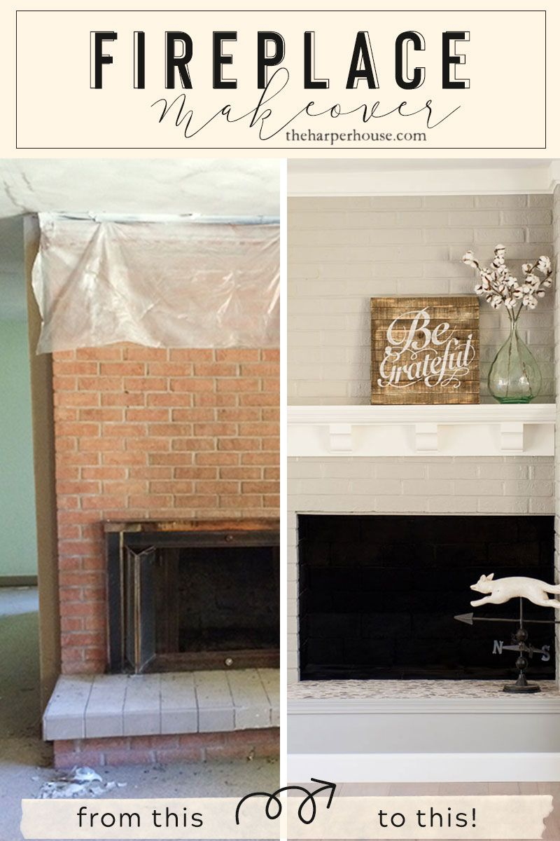 Brick Fireplace Makeover You Won T Believe The After The Harper House Brick Fireplace Makeover Farmhouse Fireplace Diy Fireplace Makeover