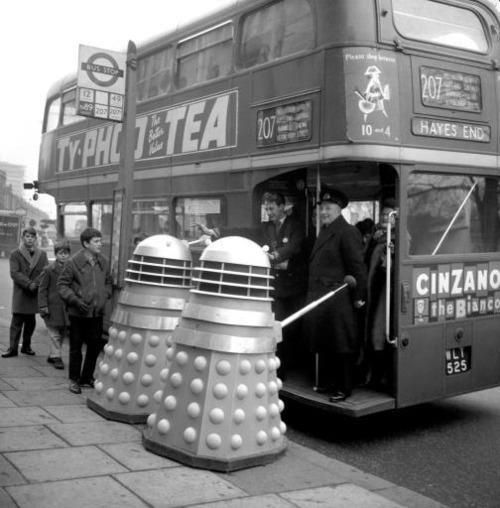 Daleks trying to get on a London bus, 1960s