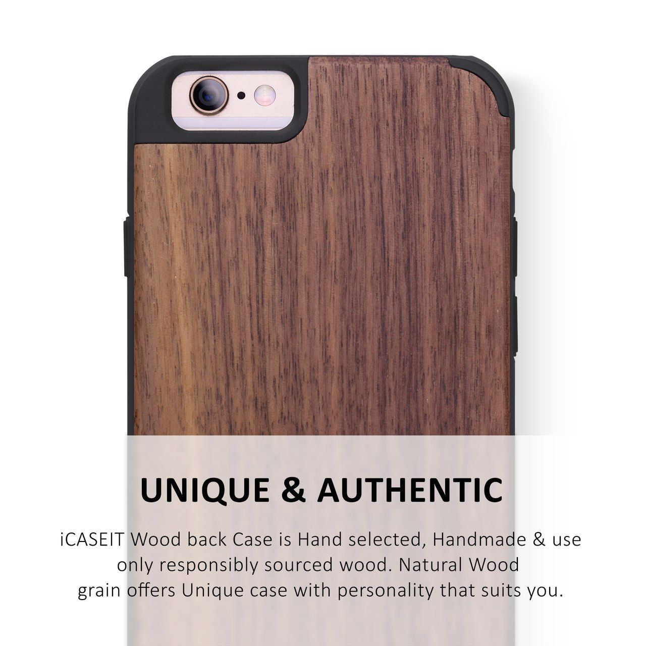 iCASEIT iPhone 6 / 6s Wood Case | Walnut / Black