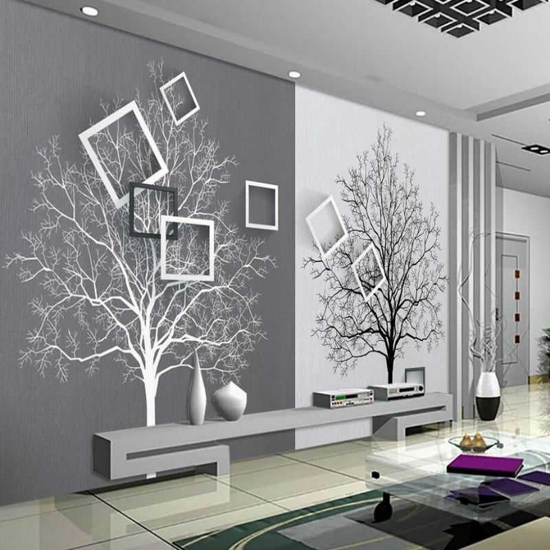 3d Wall Paper Rolls Wallpaper For Walls 3d Murals Hd Black And White Tree Simple 3d Tv Background Wallp Living Room Murals Wall Stickers Bedroom Wall Wallpaper