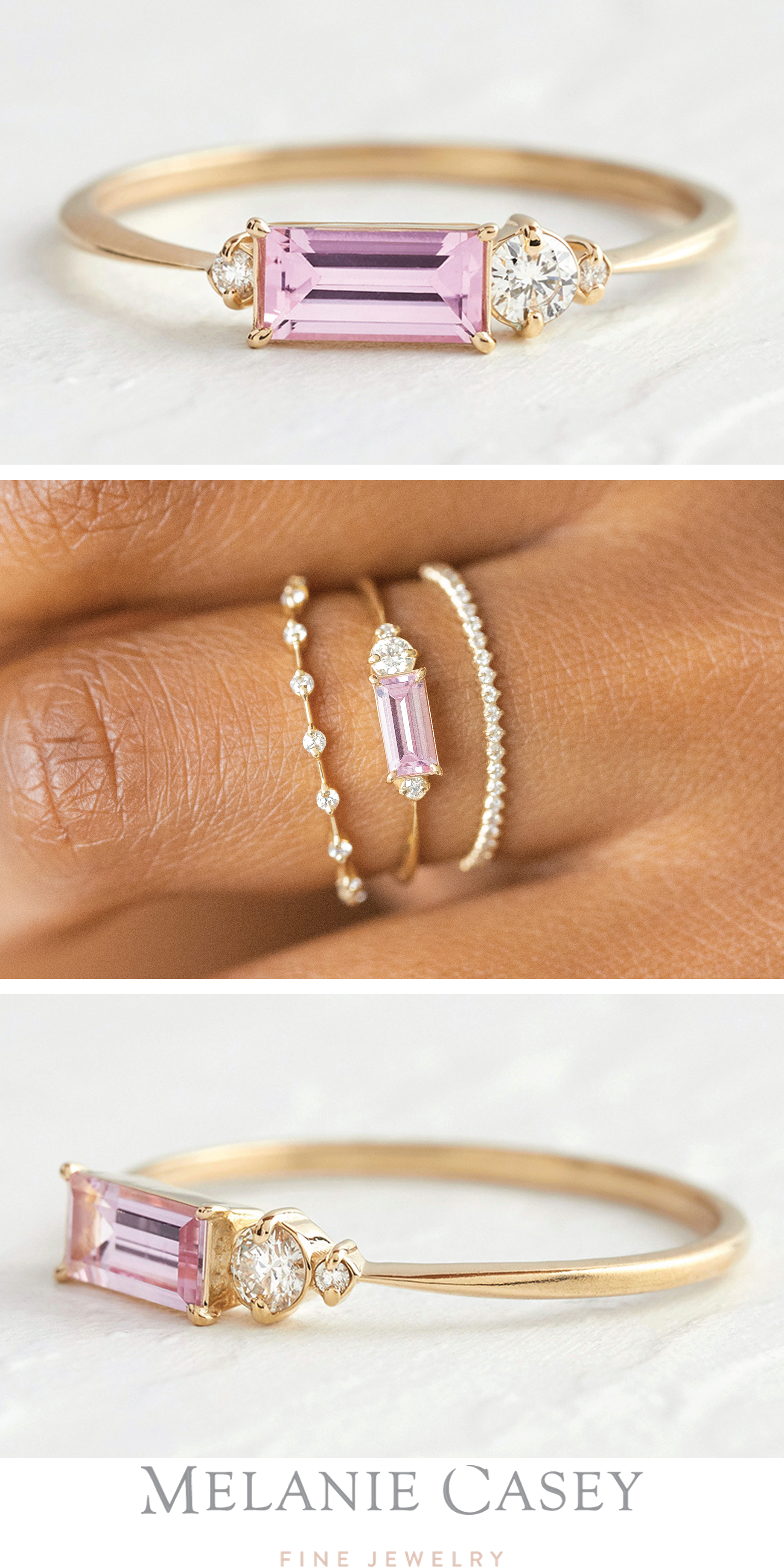 Engagement Ring Rare Pink Sapphire Ring Sterling Silver Hexagonal Gemstone Faceted Ring Sterling silver  Ring Gift for her Dainty Ring