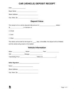 Free Free Car Vehicle Purchase Deposit Receipt Template Word Deposit Form For Vehicle Purchase Doc Free Cars Receipt Template Words