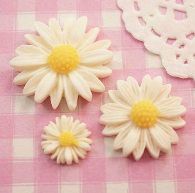 6 x White Daisy Cabochons Set Flat Back Beads Crafts Decoden Kitsch - UK SELLER | eBay