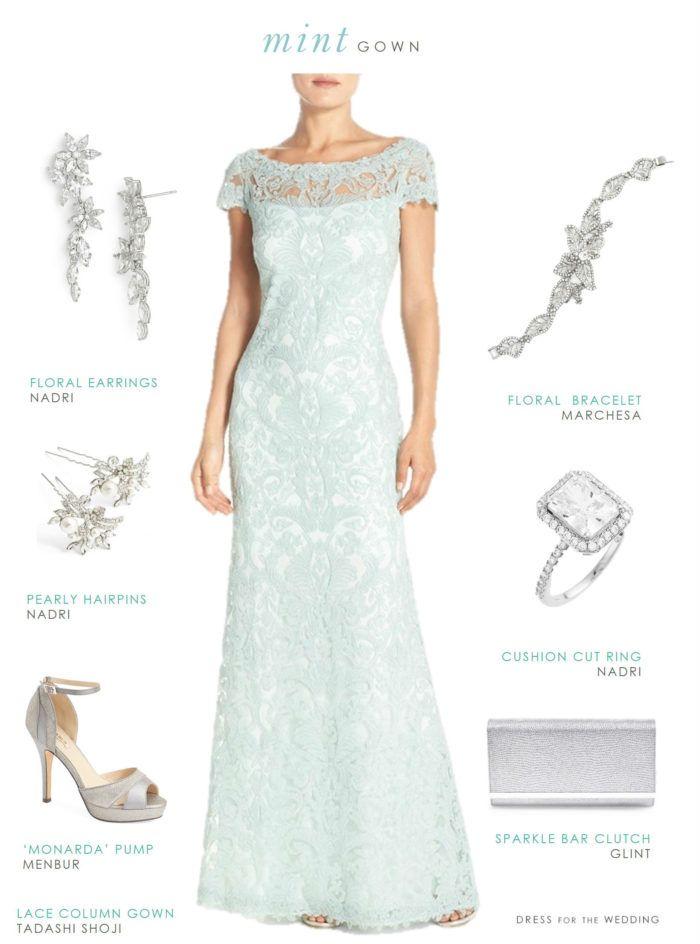 vestido de encaje de menta para una boda o de la madre de la novia