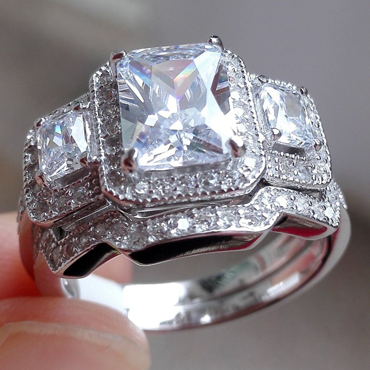 3 Ct Radiant Cut White Cz 925 Sterling Silver Wedding Band