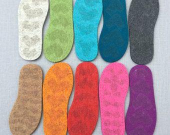 Estados Unidos grueso fieltro suelas para zapatillas y calcetines con látex para un poco de agarre tamaño americano