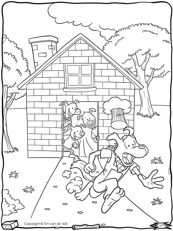 Big Bad Wolf Runs Away Coloring Nursery Rhymes Pinterest - Big-bad-wolf-coloring-page
