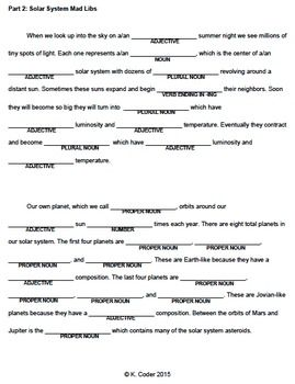 Mad Libs Our Solar System Our Solar System Solar System Lessons Earth Science Lessons