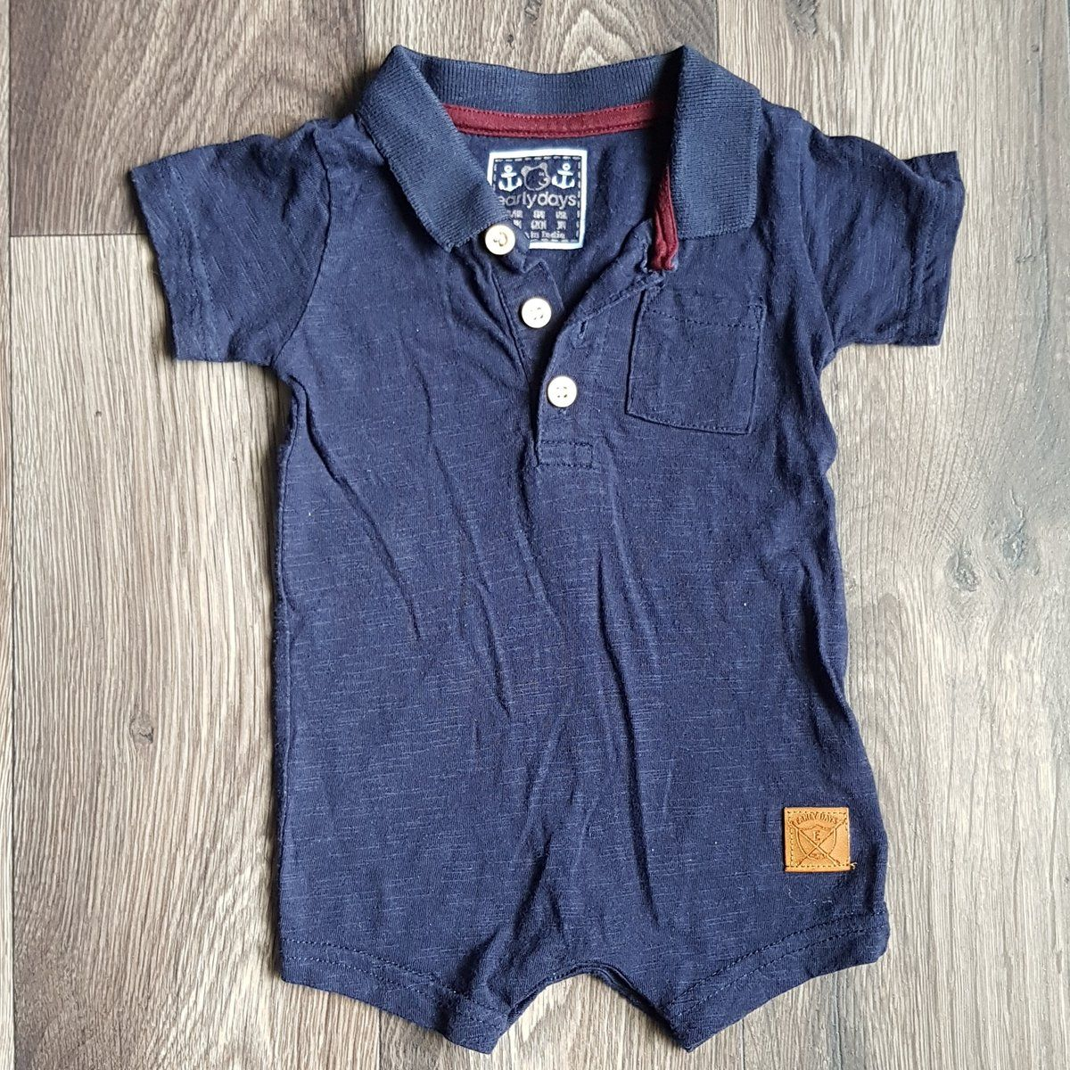 Dark blue / navy short sleeved romper outfit 03 months
