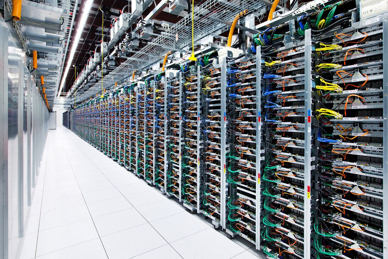 The rear of racks in Google\'s Oklahoma Data Center. Google uses ...