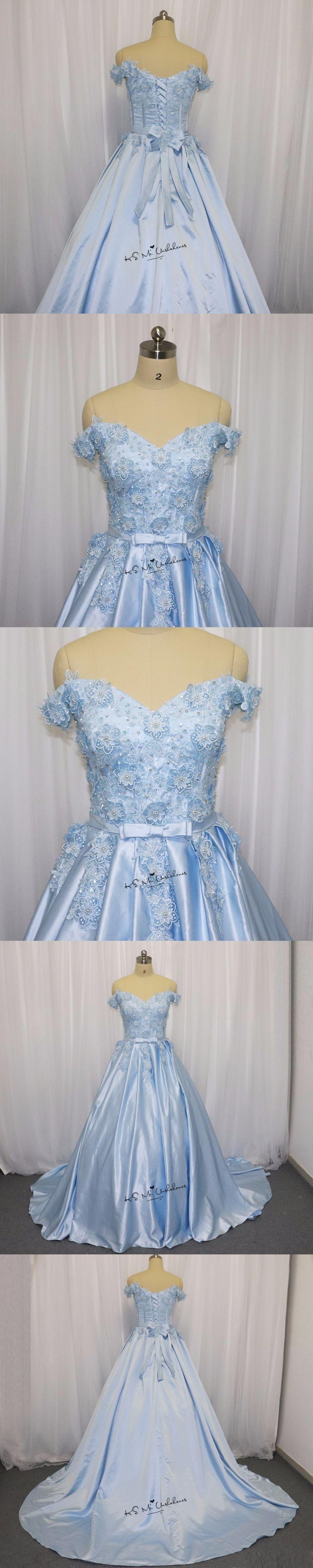 Ice blue wedding dress vintage flowers pearls lace china bridal