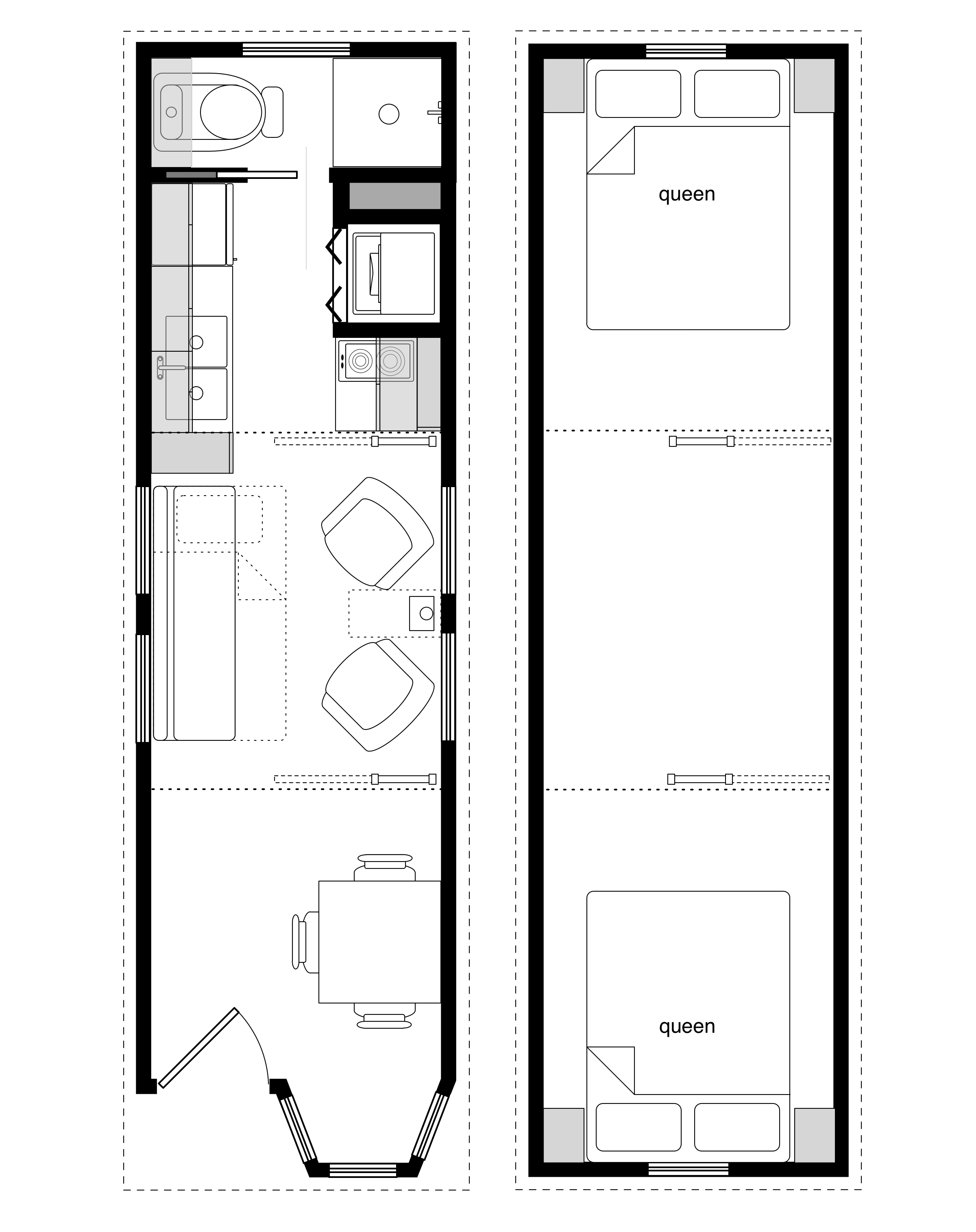 Sample Floor Plans for the 828 Coastal Cottage Tiny House
