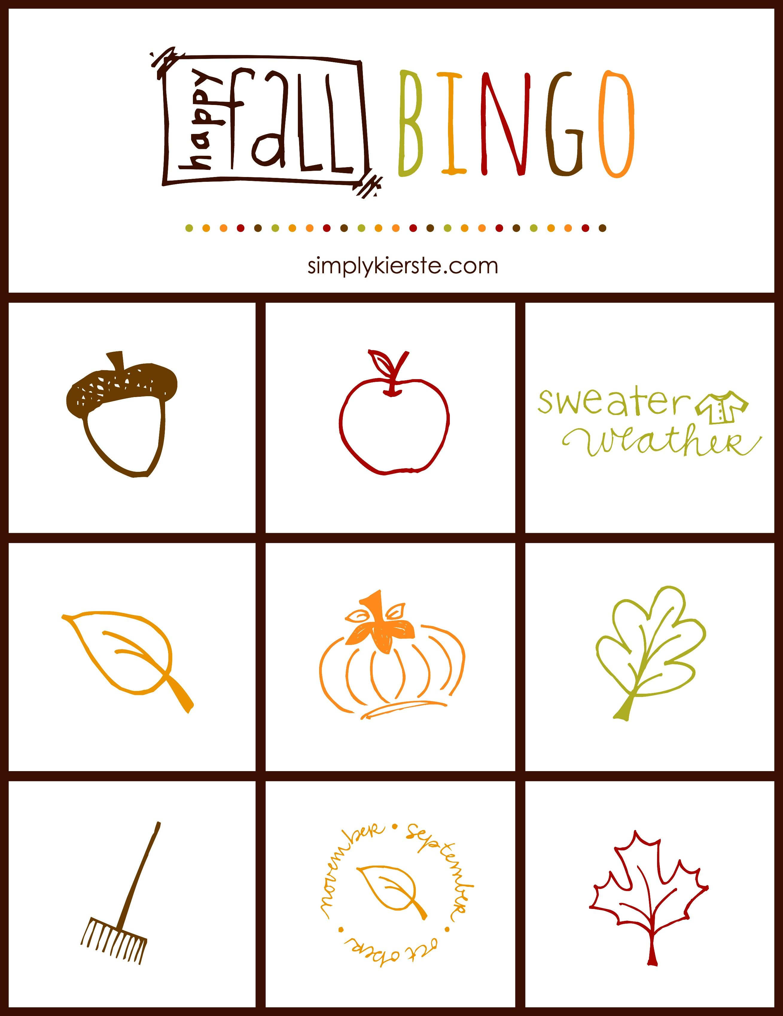Fall Bingo Game Free Printable