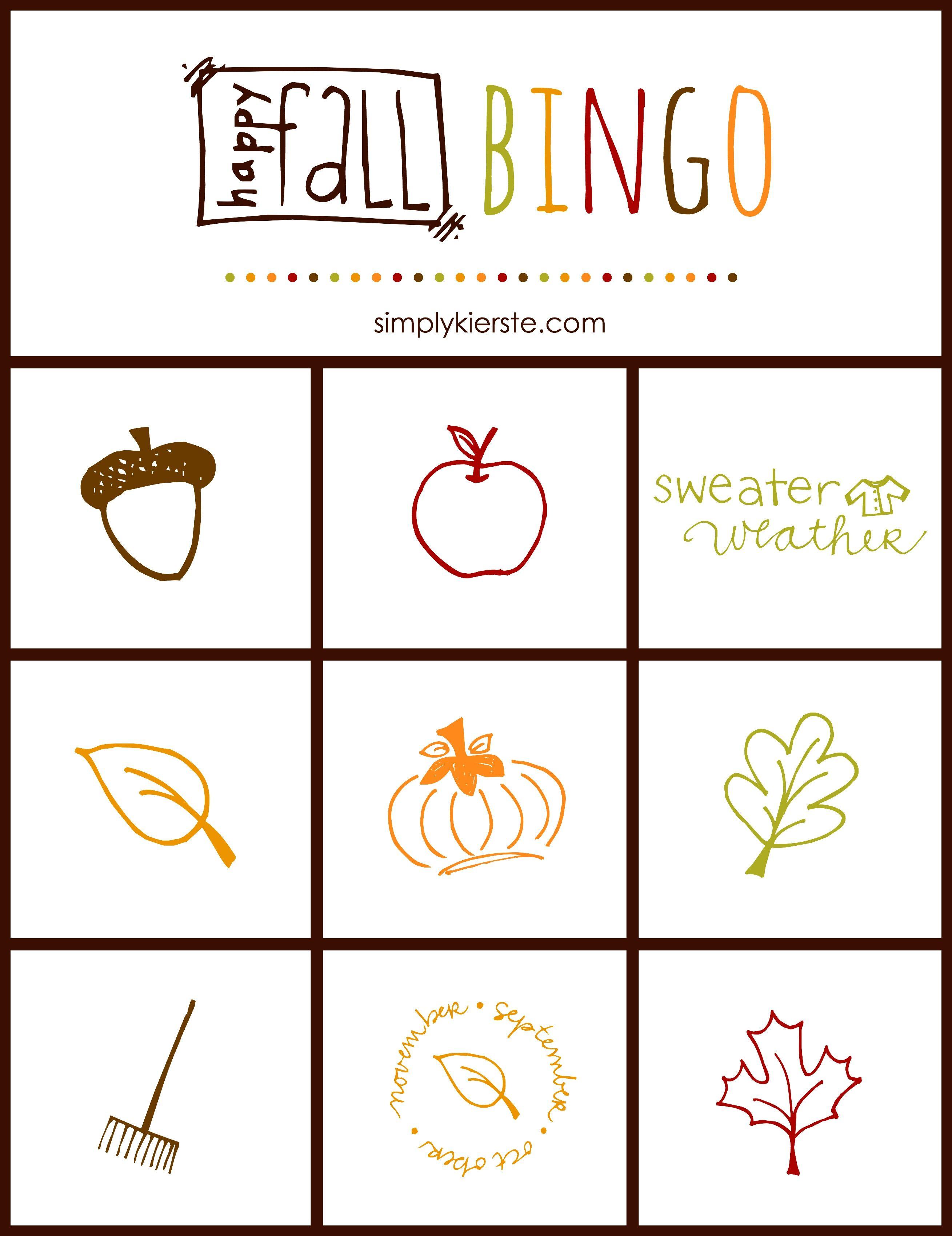 Fall Bingo Game Free Printable