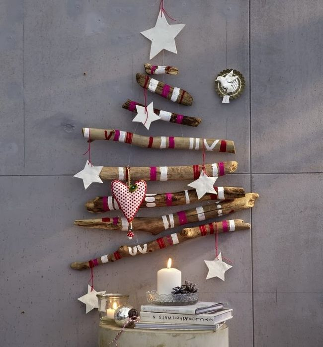 painted wood sticks in the shape of a Christmas tree | Christmas ...