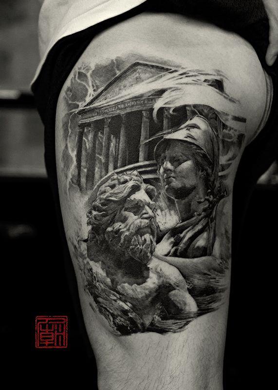 Realistic Greek Man And Women Tattoo On Side Thigh Greek Tattoos Mythology Tattoos Greek Goddess Tattoo